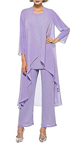 Women's Chiffon Pants Suits 3 Pieces Mother of The Bride Wedding Party Outfit Evening Dress Lavender US16