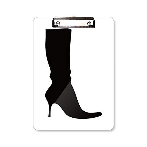 Eenvoudig Patroon Zwart Hoge Laarzen Silhouette Clipboard Folder Schrijven Pad Backing Plate A4