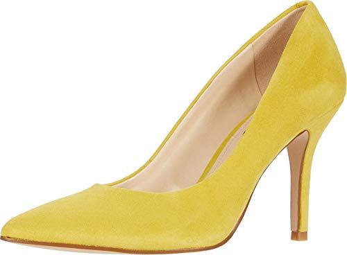 Nine West Zapato de tacón de lino para mujer, Amarillo (limón), 36 EU