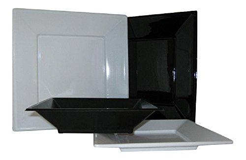 ESS - 20piatti da festa in plastica, forma quadrata, 45,7cm, colori a scelta