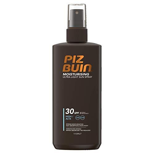 Piz Buin Moisturising Ultra Light Sun Spray LSF 30, Hoher Schutz, Feuchtigkeitsspendendes, schnell einziehendes Sonnenspray, Sonnenschutz vor UVA und UVB Strahlen, Klebt nicht, 200 ml