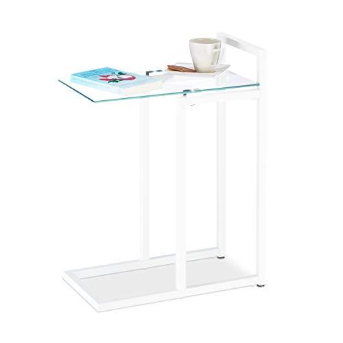Relaxdays Tavolino da Salotto in Vetro e Metallo, Tavolo da Divano per Soggiorno, Bianco, Hxlxp: 60 x 24.5 x 44.5 cm