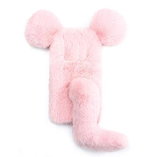 Miagon Maus Schwanz Handyhülle für Huawei Mate 10 Pro,Super Weich Winter Warm Lustig Kunstpelz Plüsch Fluffy Flexibel Handytasche Schale Case,Rosa