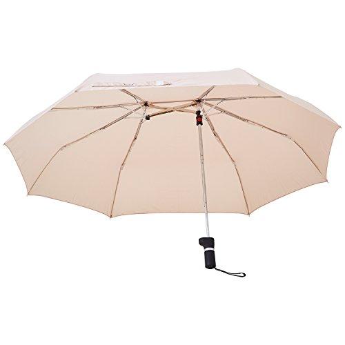 アンファンス 軸をずらした折りたたみ傘 Sharely アーモンド ベージュ 8本骨 55cm EF-UM02AL