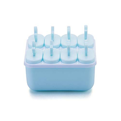 Popsicle Mold Ice Bbox DIY Ice Cream Manufacturing Kit Vriezer lade Cover en 8 Houten Sticks Geschikt voor Kinderen Familie Volwassenen Blauw