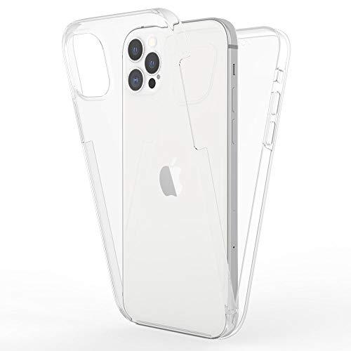 Kaliroo Cover 360 Grados Compatible con iPhone 12 Pro MAX Funda, Full-Body Case Proteccion Pantalla Trasera & Delantera Carcasa Rigida, Delgado Estuche Integral Cubierta Resistente - Transparente