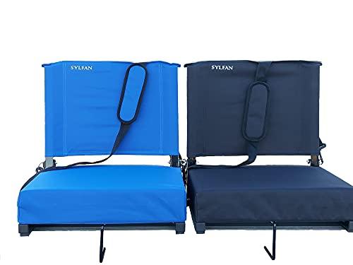 SYLFAN Portable Foldable Stadium Chair Padded Stadium Seat with Shoulder Strap (Black)