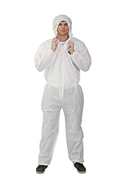 Raygard White Disposable Hooded Coveralls SMS Chemical Protective Suits Elastic Cuffs Front Zipper Closure Serged Seams XL for Spray Painting Mechanic Work