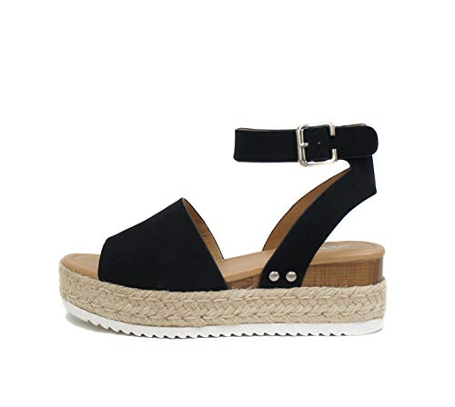 Soda Topic Open Toe Buckle Ankle Strap Espadrilles Flatform Wedge Casual Sandal (7, BLACK)