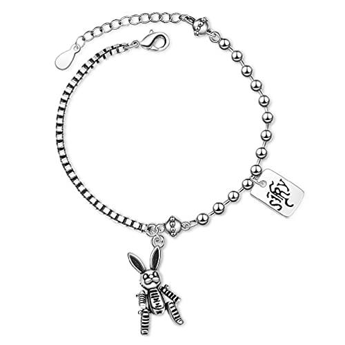SHAOKAO Pulsera de plata vintage de conejo con cuentas de enlace pulsera de cadena de joyería de moda pulseras de tobillo para adolescentes niñas