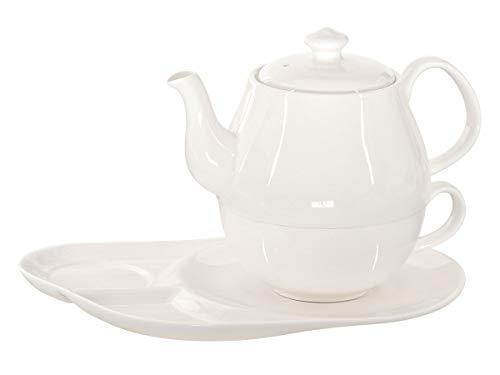 Buchensee Tea for One Daisy 600ml aus Crystal Bone China Porzellan in fein-cremigem Weiß. Teekanne + Teetasse + Untersetzer mit praktischen Ablageflächen