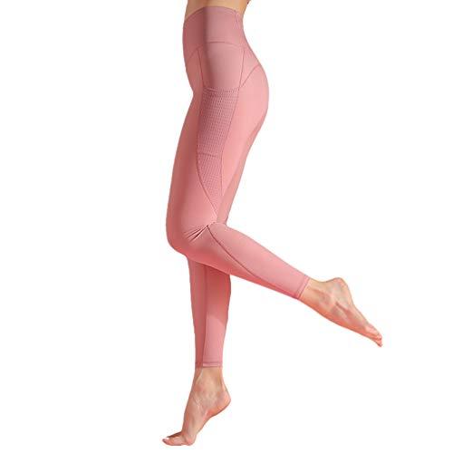 YiiJee Leggings Sportivi Donna Fitness Palestra Pantaloni da Yoga Alta Vita Pink XL