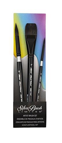 WC-3201S Black Velvet Best Basic Watercolor Set of 3 Brushes, Round Size 12, Square Wash Size 1', Round Size 6