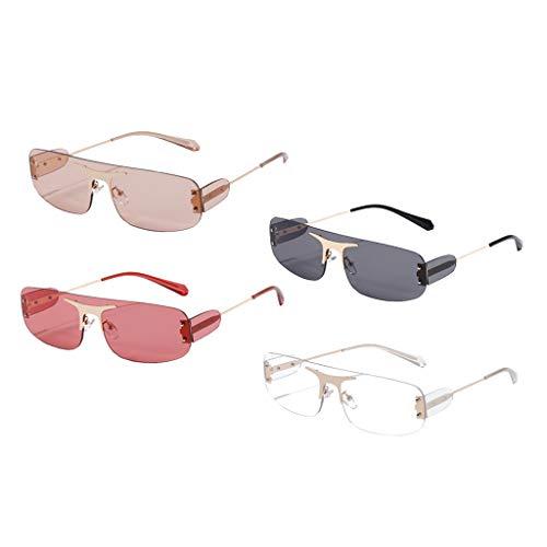 Colcolo 4X Gafas de Sol Sin Marco Retro Rectángulo Corte Lente Tintada Gafas Anti UV Sombras