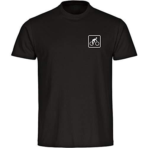 T-Shirt Radsport Fahrradfahrer Piktogramm auf der Brust schwarz Herren Gr. S bis 5XL - Shirt Trikot Sportshirt Logo, Größe:M
