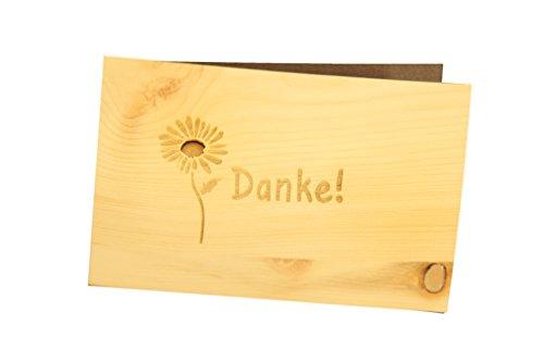 Holzgrußkarte - DANKE - 100% handmade in Österreich - Postkarte, Geschenkkarte, Grußkarte, Klappkarte, Karte, Einladung, Holzart:Zirbe