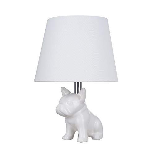 Catalina Lighting 23109-000 Whimsical Ceramic French Bulldog Table Lamp, 15.5', White
