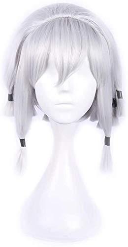 Peluca de plata especial, peluca corta de Bob recta gris, peluca de Cosplay para nias, peluca de pelo sinttico resistente al calor para fiestas de Halloween, Cosplay