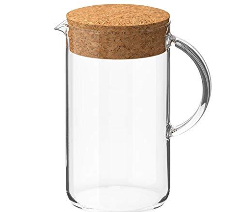 Glaskanne mit Griff Kanne für Kalt- und Heißgetränke 1,5 Liter mit Deckel Karaffe Glas Krug für Wasser Tee Detox Saft spülmaschinenfest