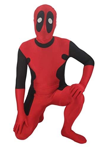 NVHAIM Adulto Deadpool Stretch Body, Halloween Carnival Party Película Disfraz Props Onesies Traje Traje Traje Traje de Batalla, Cos Wade Medias Sumpsuits,Adult XXL