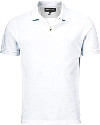BANANA REPUBLIC Mens Dress Polo Shirt (White, Large)