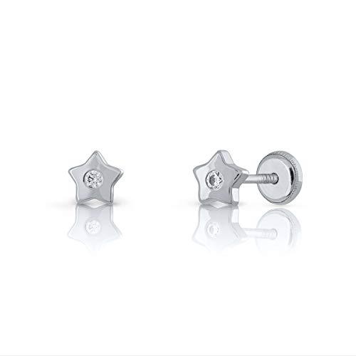 Pendientes Oro blanco de Ley Certificado,mujer niña, estrella con diamante de 2mm, 0.07 caract. Medida joya 5 mm, con rosca.