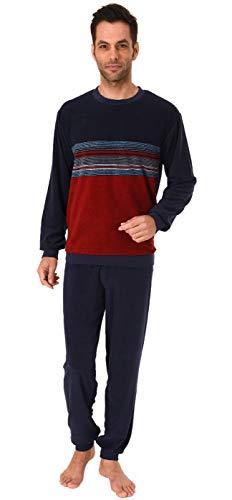 Lässiger Herren Frottee Pyjama Schlafanzug mit Bündchen in Streifenoptik - 291 101 93 844, Farbe:Marine, Größe2:48