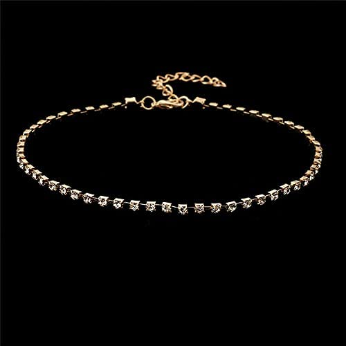 Fashion Women Crystal Bib Collar Choker Necklace Rhinestone Pendant Jewelry - Gold
