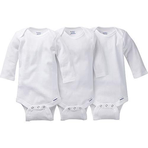 Gerber Kid's 3-Pack Long-Sleeve Onesies Bodysuit Pants, White, 5T