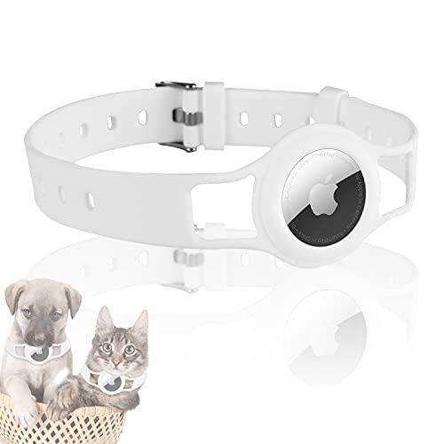 JLLTiioo Collar de Silicona para Perros y Gatos Compatible con Apple AirTag 2021, 20-40 cm (8.2 '- 15.5') Duradero y Seguro Longitud Ajustable, Cubierta para Accesorios Pet Finder (1 Pieza, Blanco)