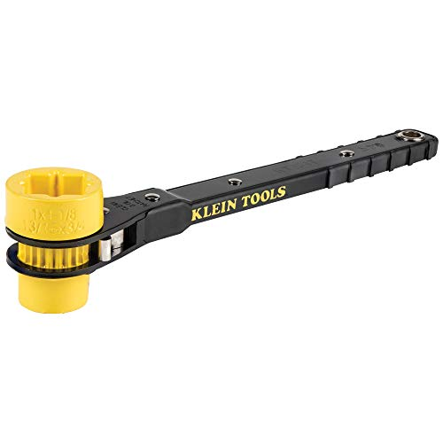 Klein Tools KT151T Lineman#039s Ratcheting Wrench with BoltThrough Design 3/4Inch 13/16Inch 1Inch x 11/8Inch Combination Square Socket