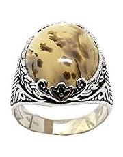 خاتم فضة رجالي بحجر العقيق, فضة إسترليني عيار 925 من فارس للفضة - مقاس 7
