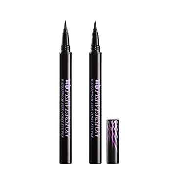 Urban Decay Perversion Waterproof Fine-Point Eye Pen - Pack of 2 - Black Semi-Matte Liquid Eyeliner - Ultra-Fine Brush Tip