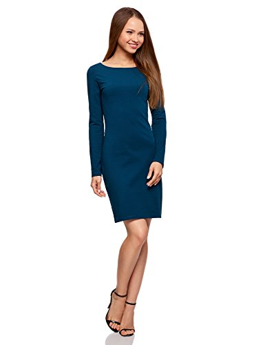 oodji Ultra Damen Enges Kleid Basic, Blau, DE 34 / EU 36 / XS