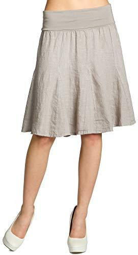Caspar RO014 Damen Leinenrock mit figurfreundlichem Stretch Bund, Farbe:Taupe, Größe:L-XL