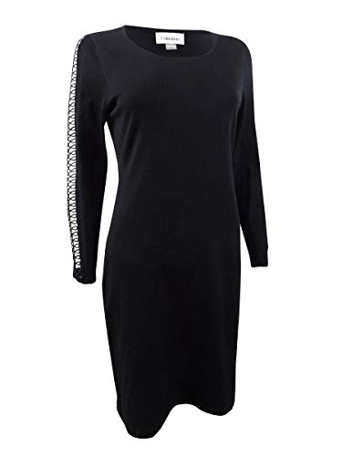 Calvin Klein Women's Sweater Dress with Lace Inset On Sleeves, Black, Medium (Apparel)
