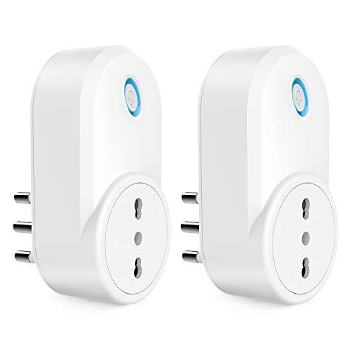 Presa Smart WiFi, Maxcio Presa Intelligente WiFi Italiana 16A, Energia Monitor, Compatibile con Alexa e Google Home, Smart Plug WiFi con Maxcio APP Telecomando, Funzione di Condividere (2 Pezzi)
