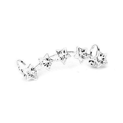 TOOGOO 1 x el estrella de 5 puntas de mujeres del Rhinestone oreja brazalete Envuelva Clip pendiente---plata