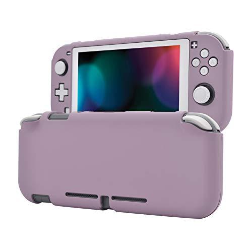 eXtremeRate PlayVital Cover Custodia Protettiva per Nintendo Switch Lite Copertura Console Shell Case Rigido con Protezione Schermo in Vetro Temperato(Viola Grigiastro Scuro&Bianco)