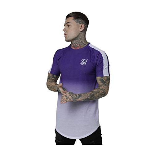 Sik Silk Camiseta Curved Hem Raglan Fade Morado/Blanco