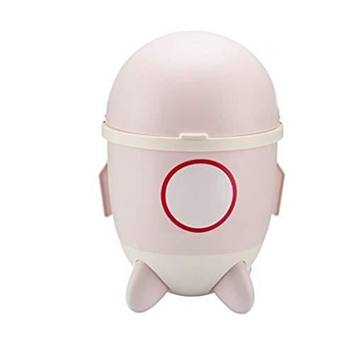 Papelera de plástico con tapa redonda, para baño, lavandería, hogar, oficina, habitación de los niños, dormitorio, escritorio, papelera (color: rosa)