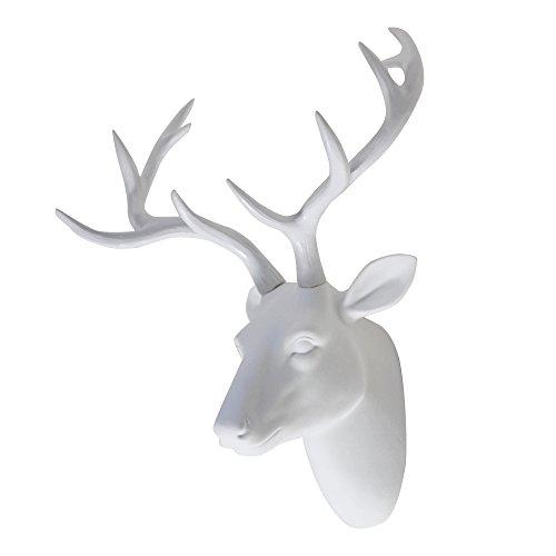 Deer Head Wall Art Animal Head Art Decor White Fake Furry/Felt/Velvety Resin Deer Head With White Antlers for Home/Bar/Office Size 16' x 12' x 7.5'