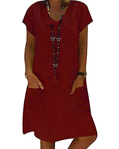 Yesgirl Vestidos De Fiesta para Bodas Talla Grandes Vestidos Mini Playero De Playa Mujer Vestidos Casuales Vestido Midi Vestido Manga Corta con Cuello En V Cubre Verano Sin Collar B Vino Tinto 34