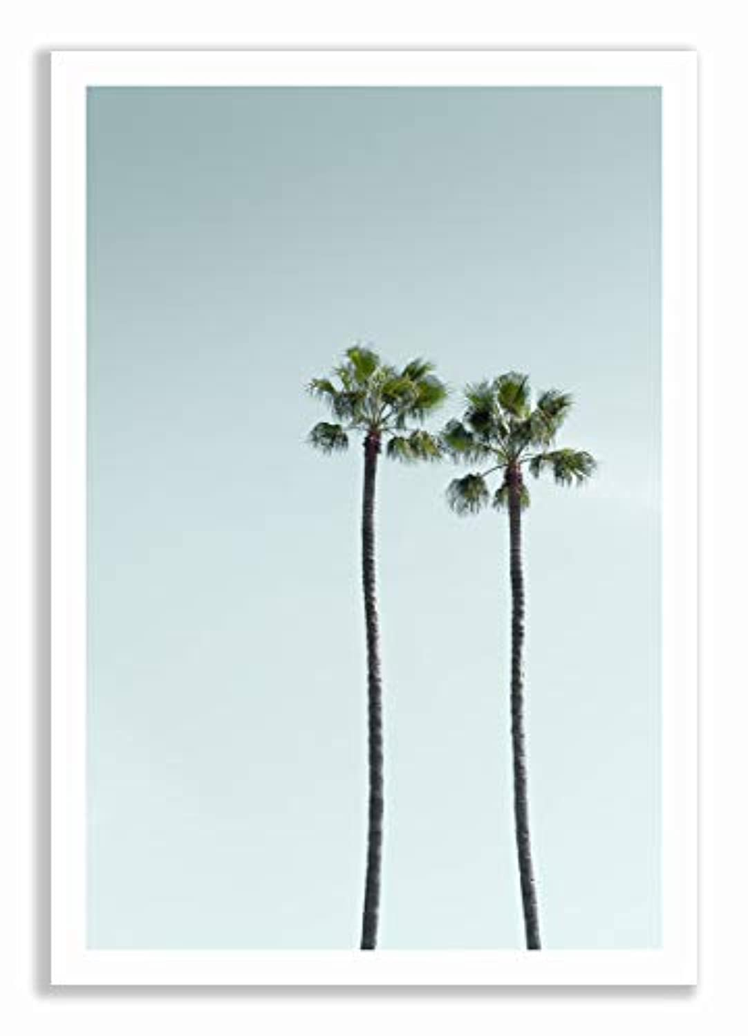 Los Angeles Palm Trees, Black Satin Aluminium Frame, with Mount, Multicolored, 40x60