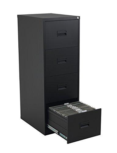 Talos Heavy Duty Steel Filing Cabinet, 40 kg Drawer Tolerance, Black, 4