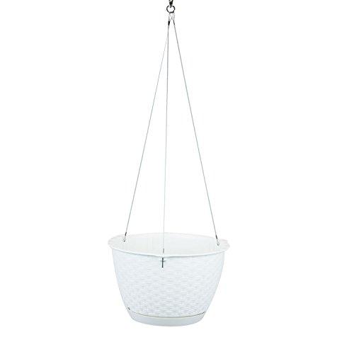 Prosperplast - Fioriera per piante, diametro 26 cm, effetto rattan, colore: Bianco