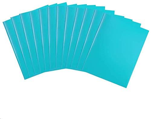 COMIX 2 Pocket Letter Size Poly File Plastics Folders with 3-Prong Fastners - 12 Packs (Light Blue)