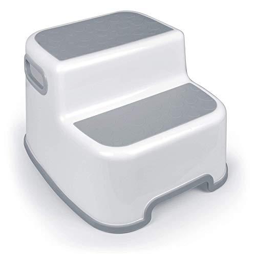 Taburete para niños, práctico para entrenar, con mango suave antideslizante, se puede utilizar cómodamente y de forma segura en el baño o la cocina (blanco + gris)