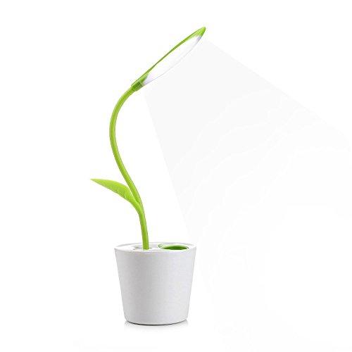 MKDMiD Flexible USB Touch Desk Lamp, Flexible Neck LED Desk Lamp 3 Level of Brightness Sapling Pot with Plant Pencil Holder for Office Study Reading (Dark Green)
