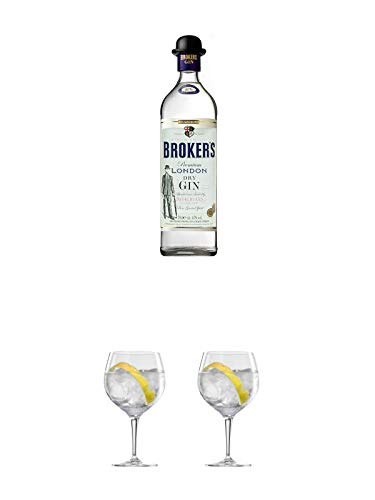 Brokers Premium London Dry Gin 47% 0,7 Liter + Ballon Bistro Cubata GIN Glas 1 Stück + Ballon Bistro Cubata GIN Glas 1 Stück